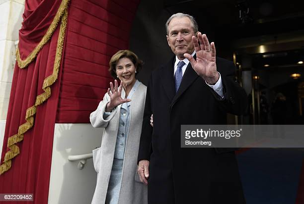 Former US President George W Bush and Laura Bush arrive during the 58th presidential inauguration in Washington DC US on Friday Jan 20 2017 Donald...