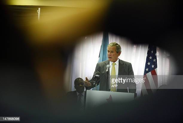 Former US President George W Bush delivers a speech during the launch of a cervical cancer programme on July 5 2012 at Princess Marina Hospital in...