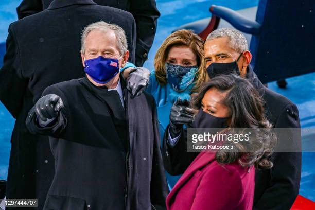 Former U.S. President George W. Bush, Speaker of the House Nancy Pelosi , former U.S. President Barack Obama and Michelle Obama arrive at the...