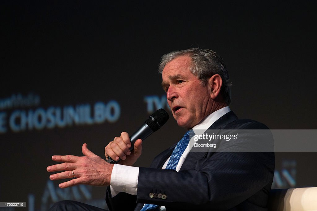 Former U.S. President George W. Bush speaks at the Asian Leadership Conference (ALC) in Seoul, South Korea, on Monday, March 3, 2014. The conference runs from March 3-4. Photographer: SeongJoon Cho/Bloomberg via Getty Images