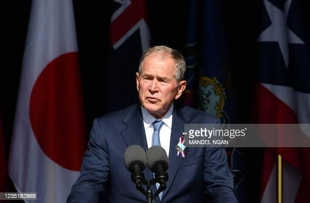Former US President George W. Bush speaks during a 9/11 commemoration at the Flight 93 National Memorial in Shanksville, Pennsylvania on September...