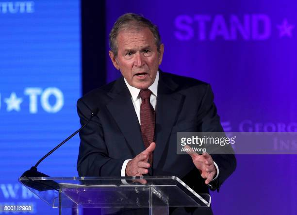 Former US President George W Bush speaks during a conference at the US Chamber of Commerce June 23 2017 in Washington DC The George W Bush Institute...