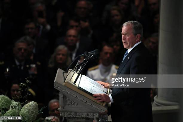 Former US President George W Bush speaks during the funeral service for US Sen John McCain at the National Cathedral on September 1 2018 in...