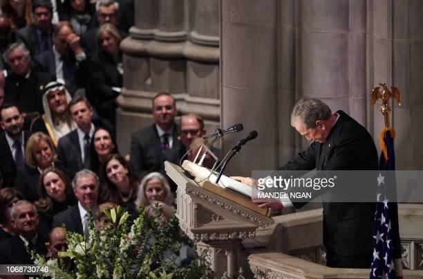 TOPSHOT Former US President George W Bush speaks during the funeral service for former US President George H W Bush at the National Cathedral in...
