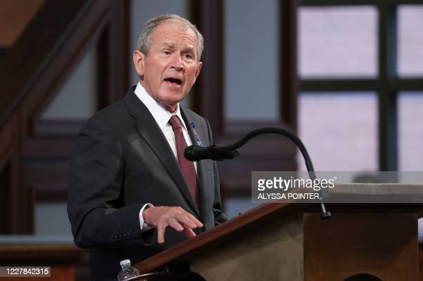 Former US President George W. Bush speaks during the funeral service of late Civil Rights leader John Lewis at the State Capitol in Atlanta, Georgia...