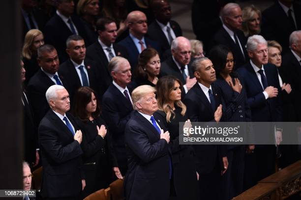 Former US president George W. Bush , US Vice President Mike Pence , US President Donald Trump and First Lady Melania Trump, with former president...