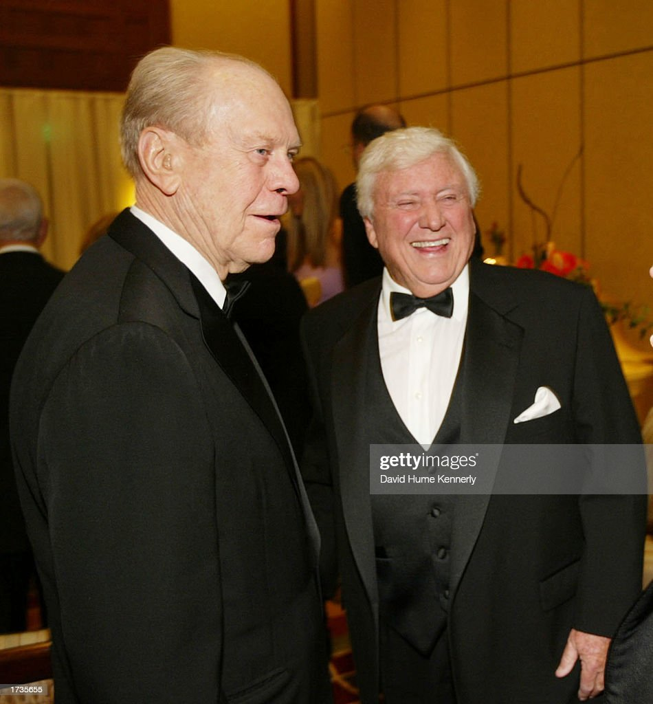 Former U.S. President Gerald Ford and businessman and former talk show host Merv Griffin attend the 20th anniversary celebration of the Betty Ford Center January 17, 2003 in Indian Wells, California.