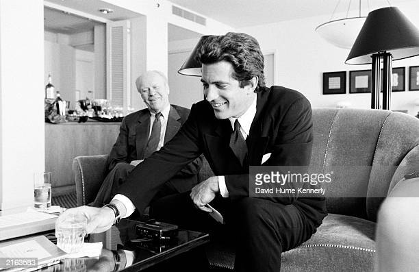 Former US President Gerald R Ford and George Magazine EditorinChief John F Kennedy Jr meet for an interview September 1996 during the Republican...