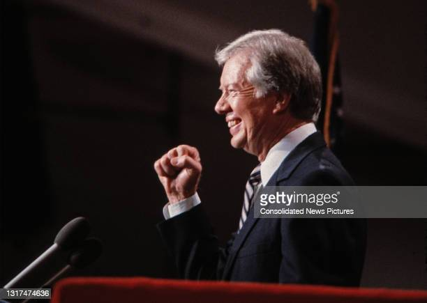 Former US President Jimmy Carter addresses the Democratic National Convention at the Moscone Center, San Francisco, California, July 16, 1984.