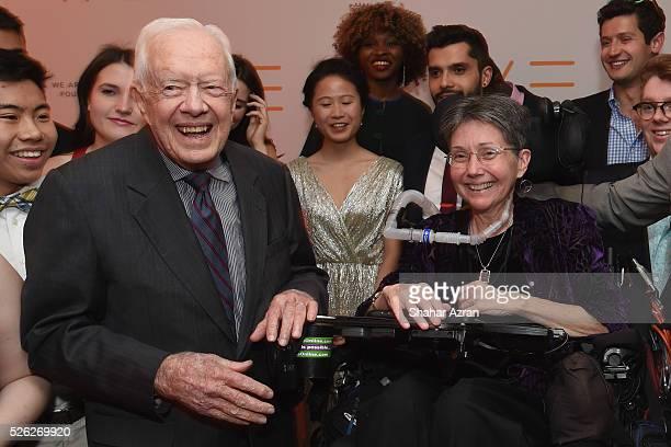 Former US President Jimmy Carter and Mother of Mattie JT Stepanek Dr Jeni Stepanek attend We Are Family Foundation 2016 Celebration Gala on April 29...