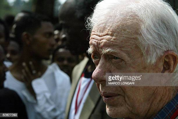 Former US President Jimmy Carter briefs the press 15 May 2005 in a polling station at the Addis Ababa University Ethiopia Former US president Jimmy...
