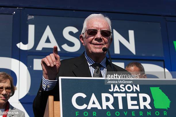 Former US President Jimmy Carter Jimmy Carter speaks while campaigning for his grandson Georgia Democratic gubernatorial candidate and State Sen...