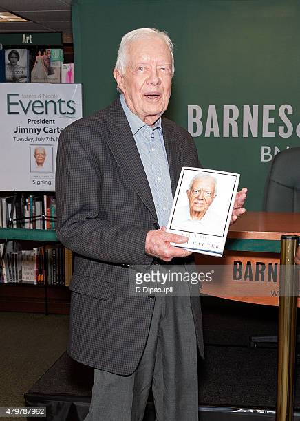 Former US President Jimmy Carter promotes his book Full Life Reflections at Ninety at Barnes Noble 5th Avenue on July 7 2015 in New York City Carter...