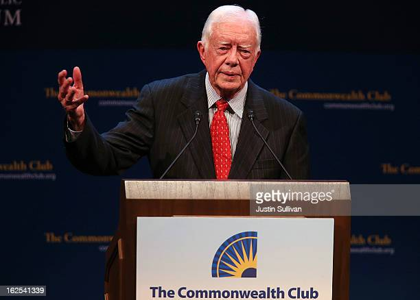 Former US President Jimmy Carter speaks at the Commonwealth Club of California on February 24 2013 in San Francisco California Former President...