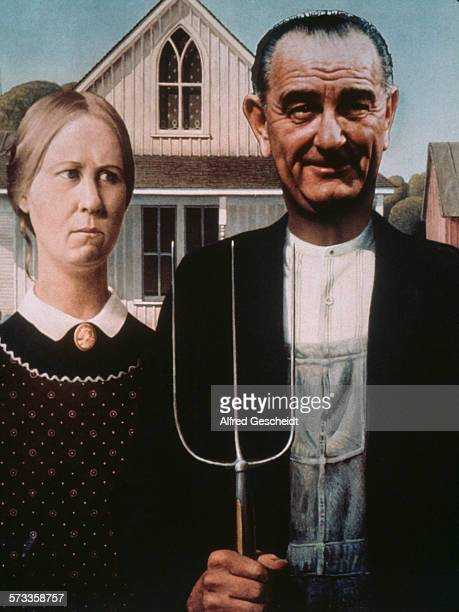 Former US President Lyndon B Johnson superimposed over the male figure in the Grant Wood painting 'American Gothic' circa 1985