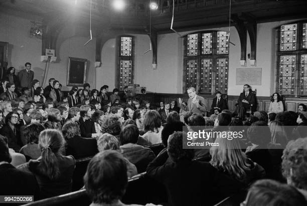 Former US President Richard Nixon addresses the Oxford University Students' Union, 1st December 1978. Nixon was greeted outside by jeers and...