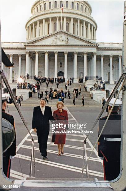 Former US President Ronald Reagan and former First Lady Nancy Reagan leave the US Capitol after President Bush's Inaugural ceremony Washington DC...