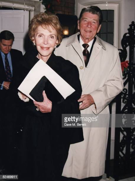 Former US president Ronald Reagan and wife Nancy Reagan on December 04 1992 in London