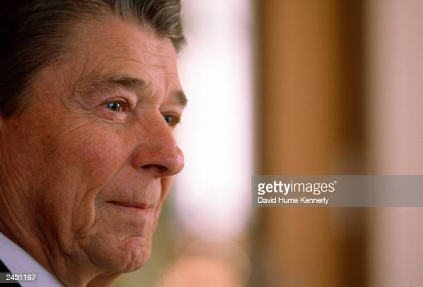 Former US President Ronald Reagan does an inteview with Hugh Sidney of Time Magazine in 1989 in Los Angeles CA