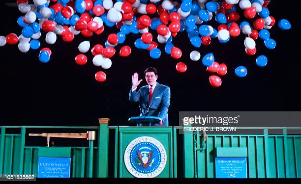 Former US President Ronald Reagan is recreated via Hologram technology during a media preview on October 10 at the Ronald Reagan Presidential Library...