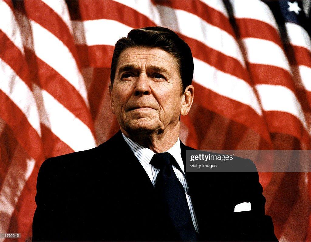 Former U.S. President Ronald Reagan speaks at a rally for Senator Durenberger February 8, 1982. Reagan turns 92 on February 6, 2003.