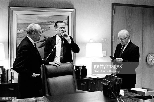Former US Presidents Gerald R Ford George HW Bush and Jimmy Carter in Ford's office at the Gerald R Ford Library rededication April 17 1997 in Grand...