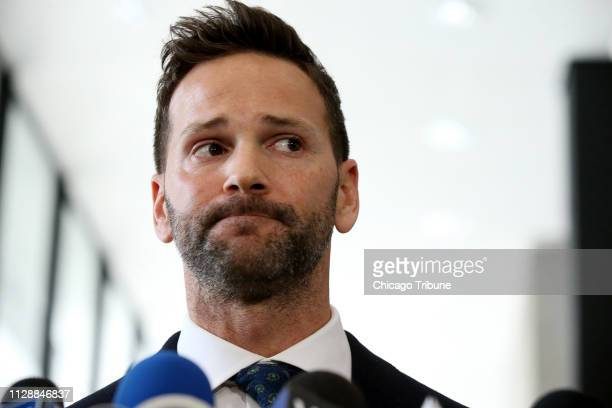Former U.S. Rep. Aaron Schock appears Wednesday, March 6, 2019 after his scheduled hearing at the U.S. Dirksen Courthouse in Chicago, Ill. Federal...