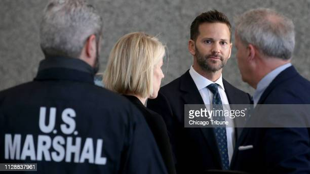 Former US Rep Aaron Schock appears Wednesday March 6 2019 before his hearing at the US Dirksen Courthouse in Chicago Ill