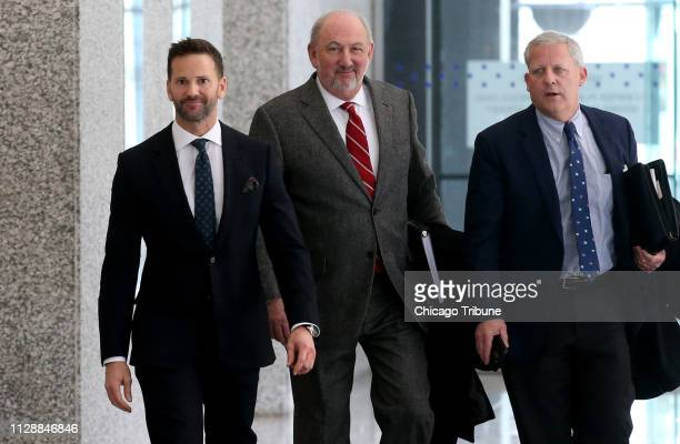 Former U.S. Rep. Aaron Schock, left, appears Wednesday, March 6, 2019 after his scheduled hearing at the U.S. Dirksen Courthouse in Chicago, Ill....