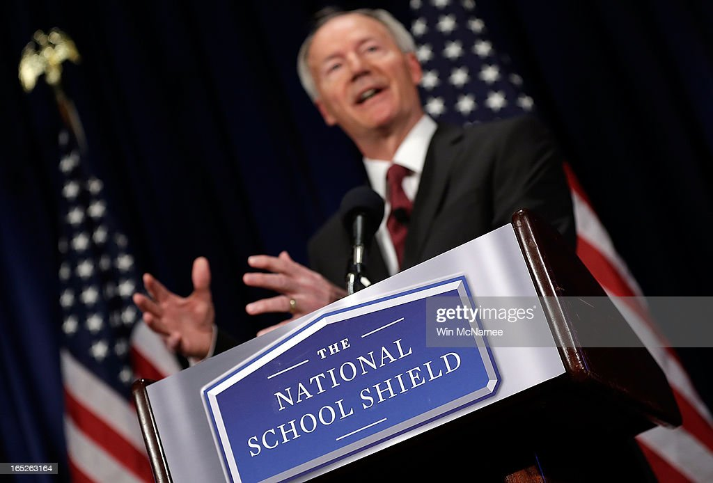 Former U.S. Rep. Asa Hutchinson announces the recommendations of the NRA backed National School Shield Program regarding school security during a press conference April 2, 2013 at the National Press Club in Washington, DC. Among other findings, the report recommended training and placing armed personnel in public schools following the Sandy Hook Elementary School shooting.