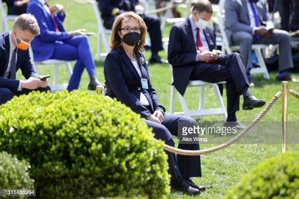 Former U.S. Rep. Gabby Giffords attends an event on gun control in the Rose Garden at the White House April 8, 2021 in Washington, DC. Biden will...