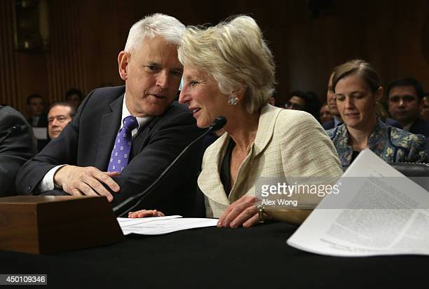 Former US Rep Jane Harman talks to former US Ambassador to Ukraine Steven Pifer during a hearing before the Senate Foreign Relations Committee June 5...