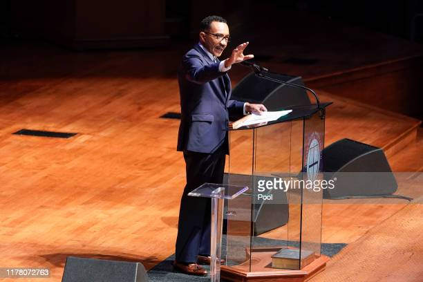 Former US Rep Kweisi Mfume speaks during funeral services for late US Representative Elijah Cummings at the New Psalmist Baptist Church October 25...