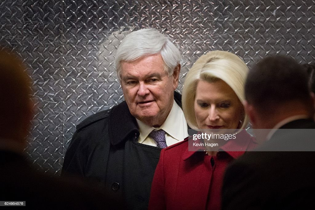 Former U.S. Rep. Newt Gingrich and his wife Callista board an elevator as they arrive at Trump Tower on November 21, 2016 in New York City.President-elect Donald Trump and his transition team are in the process of filling cabinet and other high level positions for the new administration.