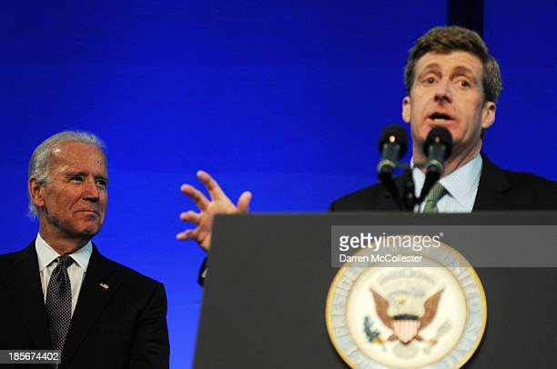 Former US Rep Patrick J Kennedy speaks at a mental health forum at the John F Kennedy Presidential Library and Museum as US Vice President Joe Biden...