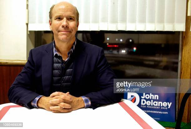 Former US Representative and 2020 Democratic presidential candidate John Delaney poses for a portrait after speaking to patrons during a campaign...