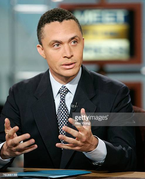 Former US Representative and current Chairman of the Democratic Leadership Council Harold Ford Jr speaks during a taping of the 'Meet the Press' at...