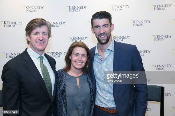 Former US Representative and Founder of The Kennedy Forum Patrick J Kennedy Amy PetitgoutKennedy and 28time Olympic Medalist Swimmer Michael Phelps...