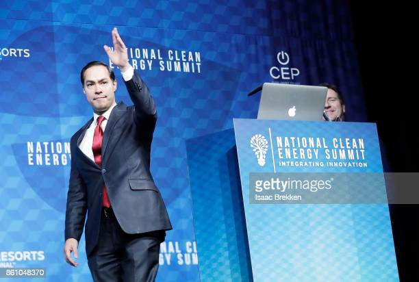 Former US Sec of Housing and Urban Development Julian Castro waves during the National Clean Energy Summit 90 on October 13 2017 in Las Vegas Nevada