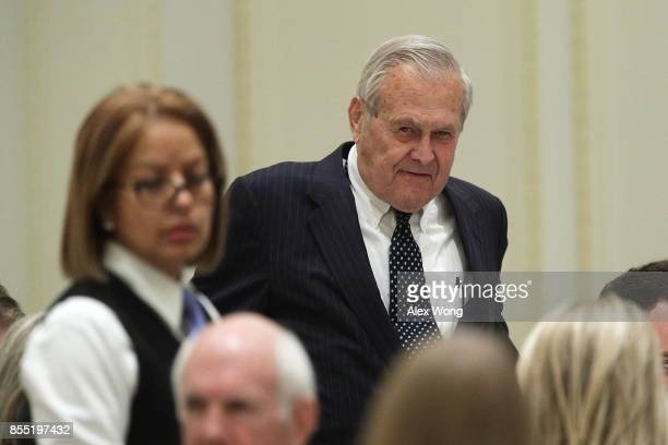 Former US Secretary of Defense Donald Rumsfeld attends an event hosted by The Fund for American Studies September 28 2017 at Trump International...
