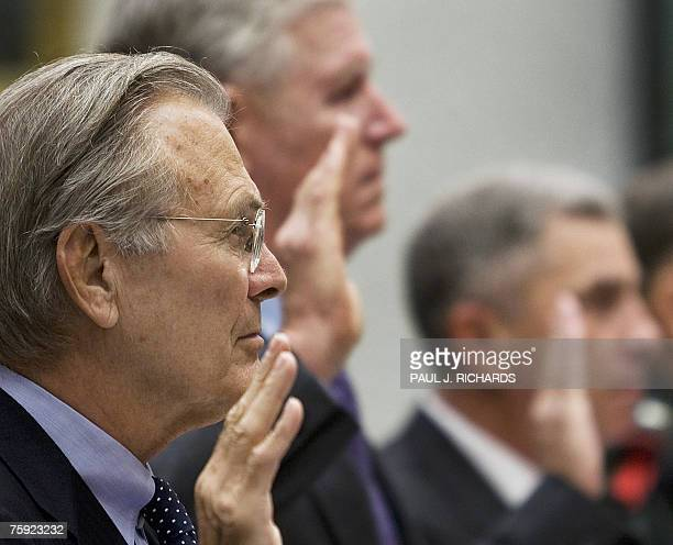 Former US Secretary of Defense Donald Rumsfeld former US Chairman of the Joint Chiefs of Staff General Richard Myers and former Commander of the US...
