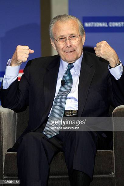 Former US Secretary of Defense Donald Rumsfeld speaks at the National Constitution Center where he is launching his book on February 9 2011 in...