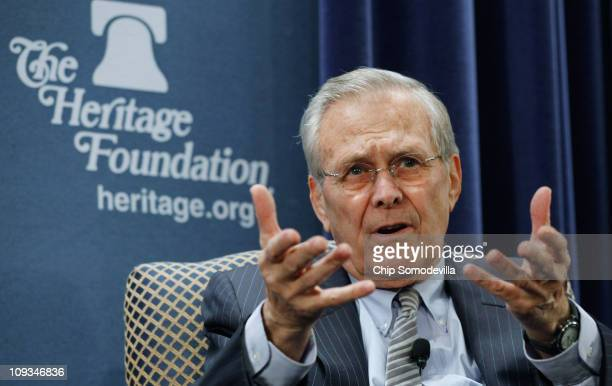 Former US Secretary of Defense Donald Rumsfeld talks about his new memoir Known and Unknown at The Heritage Foundation February 22 2011 in Washington...