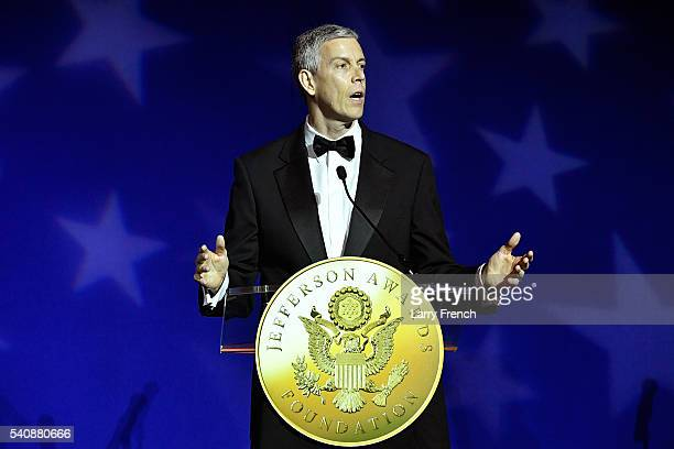 Former US Secretary of Education Arne Duncan accepts the US Senator John Heinz award for Outstanding Public Service by and ElectedAppointed Official...