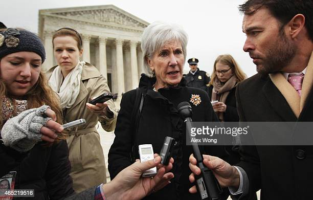 Former US Secretary of Health and Human Services Kathleen Sebelius speaks to members of the media as she comes out from the US Supreme Court after...
