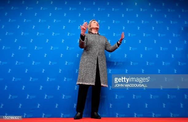 """Former US Secretary of State and First Lady Hillary Rodham Clinton poses on the red carpet upon arrival for the premiere of the film """"Hillary""""..."""