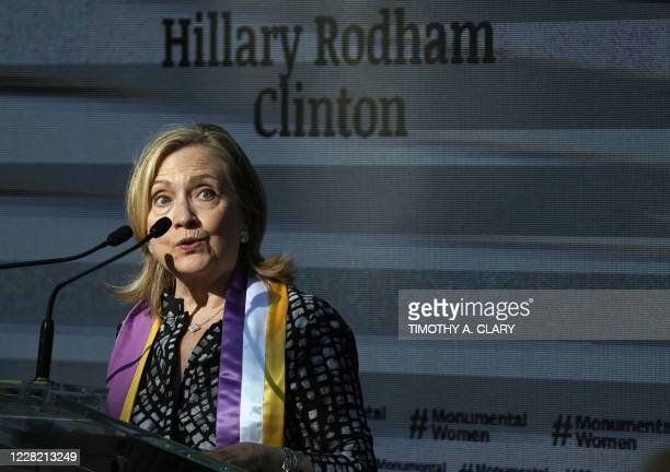 Former US Secretary of State and former presidential candidate Hillary Clinton at the unveiling of the statue of women's rights pioneers Susan B...