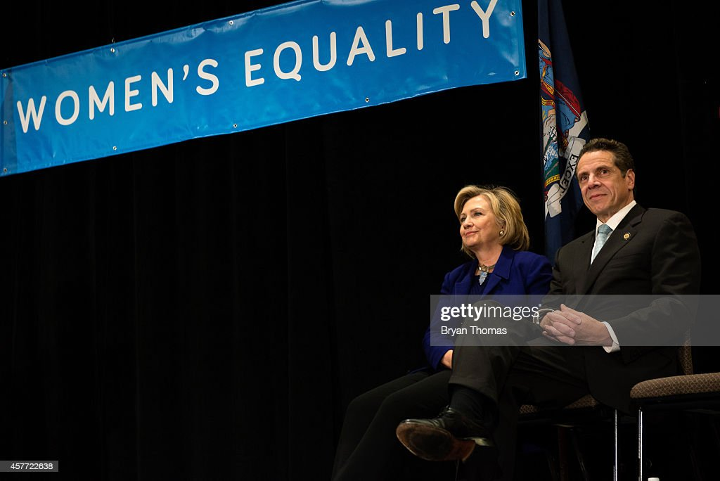 Former U.S. Secretary of State and U.S. Sen. Hillary Rodham Clinton (left to right) and incumbent New York Governor Andrew Cuomo sit next to one another during a 'Women for Cuomo' campaign event on October 23, 2014 at the Grand Hyatt Hotel in New York, NY. Cuomo was joined by Clinton who, citing his record on women's rights, endorsed him in the upcoming gubernatorial election on November 4, 2014. U.S. Rep. Kathy Hochul, the Democratic nominee for New York Lt. Gov., also spoke at the event.