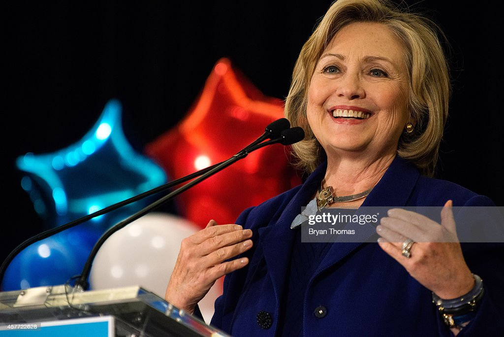 Former U.S. Secretary of State and U.S. Sen. Hillary Rodham Clinton speaks during a 'Women for Cuomo' campaign event on October 23, 2014 at the Grand Hyatt Hotel in New York, NY. Cuomo was joined by Clinton who, citing his record on women's rights, endorsed him in the upcoming gubernatorial election on November 4, 2014. U.S. Rep. Kathy Hochul, the Democratic nominee for New York Lt. Gov., also spoke at the event.