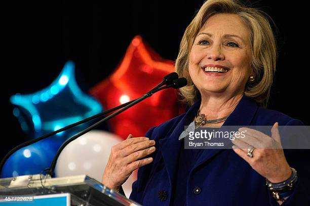 Former US Secretary of State and US Sen Hillary Rodham Clinton speaks during a 'Women for Cuomo' campaign event on October 23 2014 at the Grand Hyatt...
